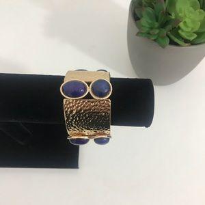Jewelry - Tribal Bracelet slip on stretch gold w/ blue stone